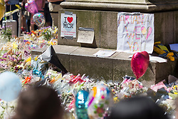 &copy; Licensed to London News Pictures. 26/05/17  MANCHESTER   , UK. <br />  <br /> A sea of flowers and balloons in St Ann's Square , Manchester , today (Friday 26th May 2017) as people gather to remember the victims of the terrorist bomb attack on Monday at the Manchester Arena.<br />   <br /> Photo credit: CHRIS BULL/LNP