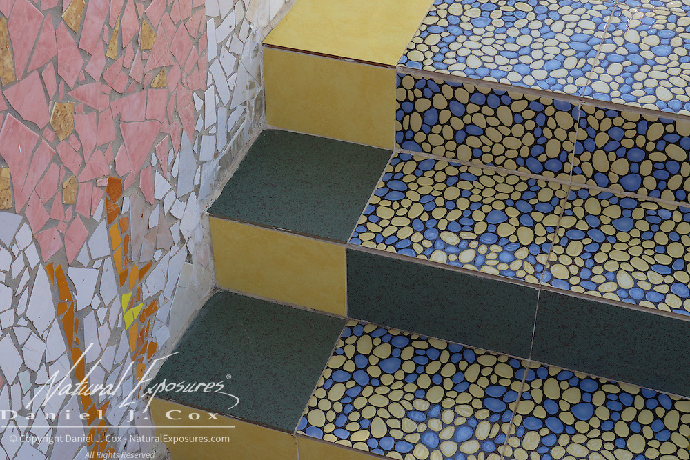 "Tiled stairs at the home of Jose Fuster's, known as ""Picasso of the Caribbean"". Havana, Cuba."
