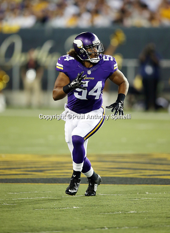 Minnesota Vikings rookie inside linebacker Eric Kendricks (54) chases the action during the 2015 NFL Pro Football Hall of Fame preseason football game against the Pittsburgh Steelers on Sunday, Aug. 9, 2015 in Canton, Ohio. The Vikings won the game 14-3. (©Paul Anthony Spinelli)