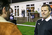 Forest Green Rovers manager, Mark Cooper being interviewed prior to the match during the FA Trophy match between Truro City and Forest Green Rovers at Treyew Road, Truro, United Kingdom on 13 December 2016. Photo by Shane Healey.