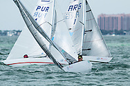 MIAMI - January 29, 2015.  Julio Papote Reguero (PUR 7, left) finished 7th out of 29 overall in the Paralympic 2.4 Metre class at the 2015 ISAF Sailing World Cup in Miami.