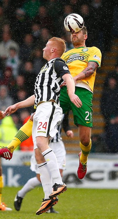 ST.MIRREN v CELTIC..Charlie Mulgrew and Conor Newton leaps high for the ball...(c) STEPHEN LAWSON | SportPix.org.uk