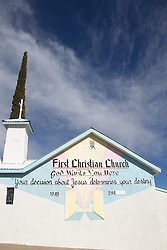 detail of The First Christian Church in the town of Truth Or Consequences, New Mexico