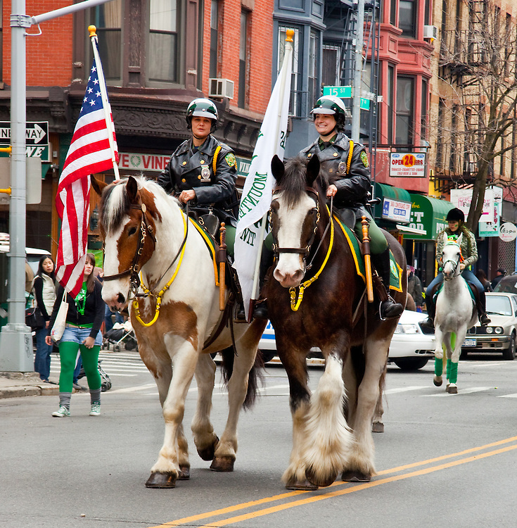 NYPD riders at the local Saint Patrick's Day parade.