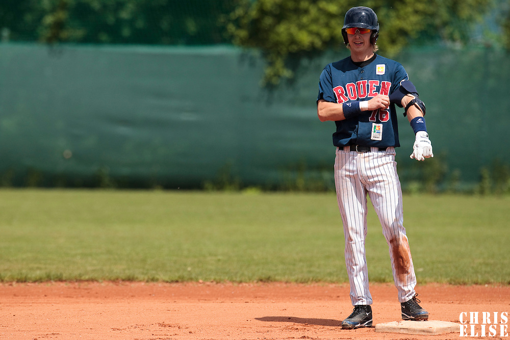 04 June 2010: Luc Piquet of Rouen is seen on base during the 2010 Baseball European Cup match won 19-9 by Konica Minolta Pioniers over the Rouen Huskies, at the Kravi Hora ballpark, in Brno, Czech Republic.