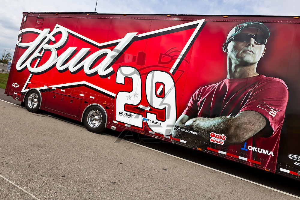 KANSAS CITY, KS - APR 19, 2012:  The Budweiser hauler waits to park  for the STP 400 at the Kansas Speedway in Kansas City, KS.