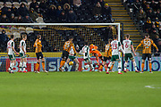 Goal Michael Dawson of Hull City scores to make it 1-1 during the EFL Sky Bet Championship match between Hull City and Barnsley at the KCOM Stadium, Kingston upon Hull, England on 27 February 2018. Picture by Craig Zadoroznyj.