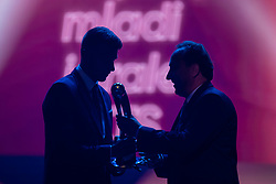 Jan Mlakar of NK Maribor receiving trophy for best young player in Prva Liga Telekom Slovenije from Franci Zavrl vice president of NZS during SPINS XI Nogometna Gala 2019 event when presented best football players of Prva liga Telekom Slovenije in season 2018/19, on May 19, 2019 in Slovene National Theatre Opera and Ballet Ljubljana, Slovenia. Photo by Grega Valancic / Sportida.com