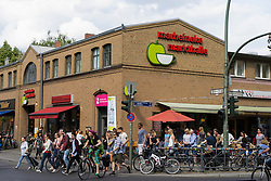Exterior of Marheineke Markthale market on Bergmannstrasse in Kreuzberg Berlin Germany