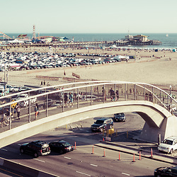 Santa Monica Beach pedestrian bridge and pier with Pacific Coast Highway. Panorama photo ratio is 1:3. Copyright ⓒ 2017 Paul Velgos with All Rights Reserved.