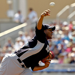 March 8, 2011; Dunedin, FL, USA; New York Yankees starting pitcher Ivan Nova (47) throws during the top of the second inning of a spring training game against the Toronto Blue Jays at Florida Auto Exchange Stadium. Mandatory Credit: Derick E. Hingle-US PRESSWIRE