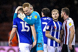 Cameron Dawson of Sheffield Wednesday and Tom Lees of Sheffield Wednesday celebrate after the draw with Sheffield United - Mandatory by-line: Robbie Stephenson/JMP - 09/11/2018 - FOOTBALL - Bramall Lane - Sheffield, England - Sheffield United v Sheffield Wednesday - Sky Bet Championship