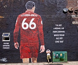 LIVERPOOL, ENGLAND - Thursday, August 8, 2019: Artist Akse P19 at the official opening of a mural of Liverpool's Trent Alexander-Arnold on the side of a building in Sybil Road, Anfield. The mural was commissioned by The Anfield Wrap and painted by local artist Akse P19. (Pic by David Rawcliffe/Propaganda)