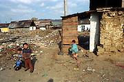 Jarovnice/Slovak Republic, Slovakia, SVK, 06.08.2003: Streetscene in  JAROVNICE - the biggest Roma Settlement in eastern Slovakia.