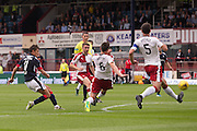 Dundee&rsquo;s Danny Williams fires in a shot  - Dundee v Rangers, Ladbrokes Scottish Premiership at Dens Park<br /> <br />  - &copy; David Young - www.davidyoungphoto.co.uk - email: davidyoungphoto@gmail.com