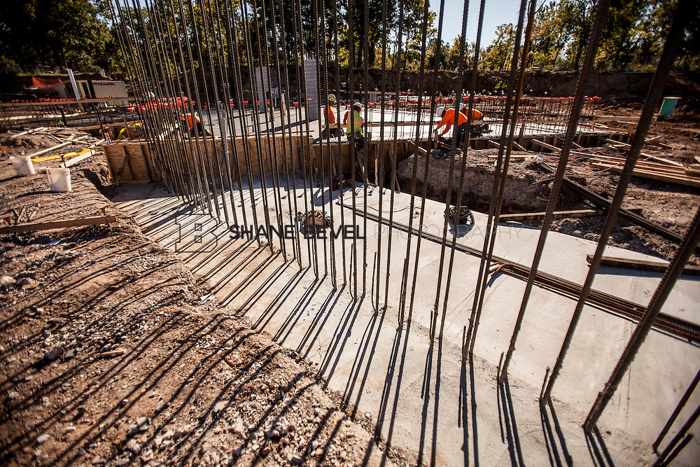 9/30/16 10:03:53 AM -- Lodge construction update. Mist Mountain Foundations, Peggy's Pond Rock install. <br /> <br /> Photo by Shane Bevel