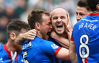 19/04/15 WILLIAM HILL SCOTTISH CUP SEMI-FINAL<br /> INVERNESS CT v CELTIC<br /> HAMPDEN - GLASGOW<br /> Inverness CT's David Raven (centre) celebrates his goal with his team-mates