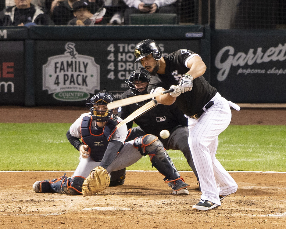 CHICAGO - SEPTEMBER 28:  Jose Abreu #79 of the Chicago White Sox breaks his bat while hitting against the Detroit Tigers during the second game of a double header on September 28, 2019 at Guaranteed Rate Field in Chicago, Illinois.  (Photo by Ron Vesely)  Subject:   Jose Abreu