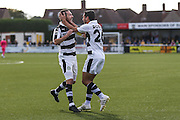 Forest Green Rovers Liam Noble(15) and Forest Green Rovers Fabien Robert(26) celebrate, 0-1 during the The FA Cup 4th qualifying round match between Sutton United and Forest Green Rovers at Gander Green Lane, Sutton, United Kingdom on 15 October 2016. Photo by Shane Healey.