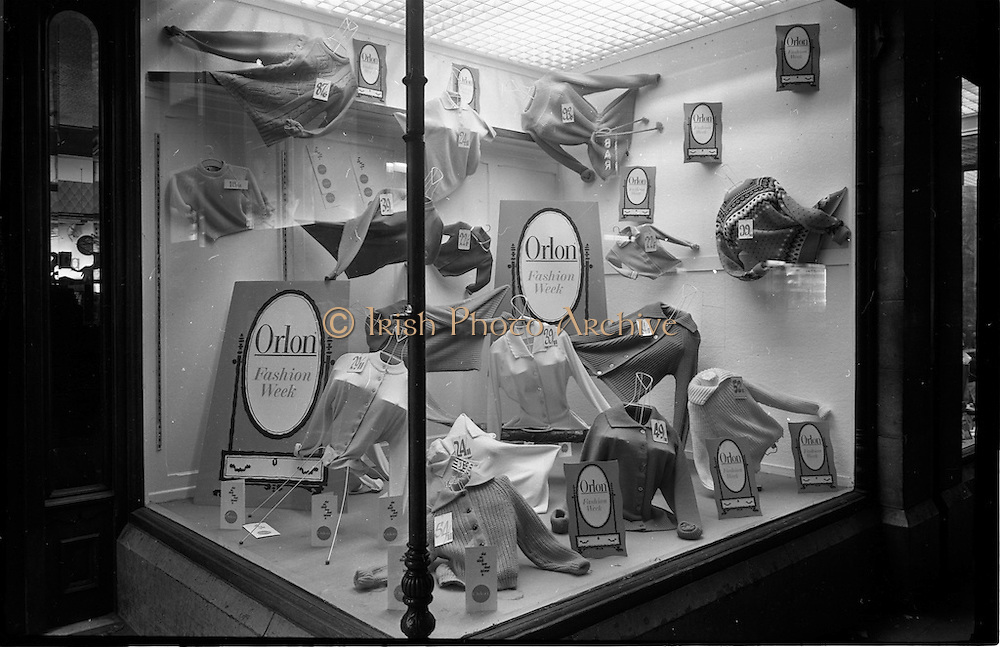 29/03/1963<br /> 03/29/1963<br /> 29 March 1963<br /> Du Pont Orlon fashion week window displays at McCullaghs, Dun Laoghaire, Dublin.