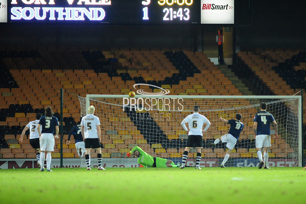 Off the bar - David Mooney's penalty crashes off the bar for Southend United with the score at 3-1 during the Sky Bet League 1 match between Port Vale and Southend United at Vale Park, Burslem, England on 26 February 2016. Photo by Mike Sheridan.