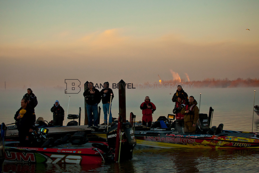 2/25/12 7:58:11 AM -- during the 2012 Bassmaster Classic on the Red River in Shreveport, La. ..Photo by Shane Bevel.Boats launch on the Red River. .Boats launch on the Red River.