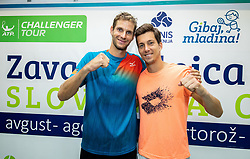 Blaz Rola and Aljaz Bedene of Slovenia after playing Singles semifinal match during Day 9 of ATP Challenger Zavarovalnica Sava Slovenia Open 2019, on August 17, 2019 in Sports centre, Portoroz/Portorose, Slovenia. Photo by Vid Ponikvar / Sportida