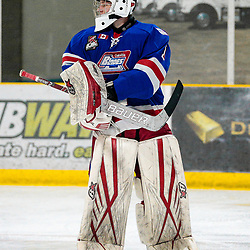 COCHRANE, ON - MAY 1: Will Barber #1 of the Oakville Blades watches the play on May 1, 2019 at Tim Horton Events Centre in Cochrane, Ontario, Canada.<br /> (Photo by Christian Bender / OJHL Images)