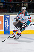 KELOWNA, CANADA -FEBRUARY 25: Austin Glover #20 of the Kelowna Rockets skates against the Prince George Cougars on February 25, 2014 at Prospera Place in Kelowna, British Columbia, Canada.   (Photo by Marissa Baecker/Getty Images)  *** Local Caption *** Austin Glover;