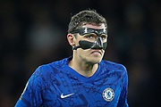 Chelsea defender Andreas Christensen (4), face mask, during the Champions League match between Chelsea and Bayern Munich at Stamford Bridge, London, England on 25 February 2020.