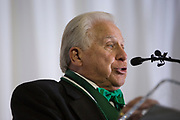 """Charles """"Skip"""" Vosler gives a speech after receiving The Kermit Blosser Ohio Athletics Hall of Fame Lifetime Achievement Award at the Alumni Awards Gala on October 6, 2017."""