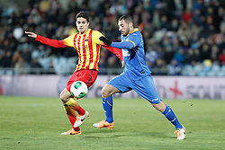 16.01.2014, Coliseum Alfonso Perez, Getafe, ESP, Copa del Rey, FC Getafe vs FC Barcelona, Achtelfinale, Rueckspiel, im Bild Getafe´s and Barcelona´s Bartra (L) // Getafe´s and Barcelona´s Bartra (L) during the last sixteen 2nd leg match of Spanish Copa del Rey between Getafe CF and Barcelona FC at the Coliseum Alfonso Perez in Getafe, Spain on 2014/01/16. EXPA Pictures © 2014, PhotoCredit: EXPA/ Alterphotos/ Victor Blanco<br /> <br /> *****ATTENTION - OUT of ESP, SUI*****