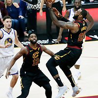 CLEVELAND, OH - JUN 3: LeBron James #23 of the Cleveland Cavaliers goes for the layup in Game Three of the 2018 NBA Finals won 110-102 by the Golden State Warriors over the Cleveland Cavaliers at the Quicken Loans Arena on June 6, 2018 in Cleveland, Ohio. NOTE TO USER: User expressly acknowledges and agrees that, by downloading and or using this photograph, User is consenting to the terms and conditions of the Getty Images License Agreement. Mandatory Copyright Notice: Copyright 2018 NBAE (Photo by Chris Elise/NBAE via Getty Images)
