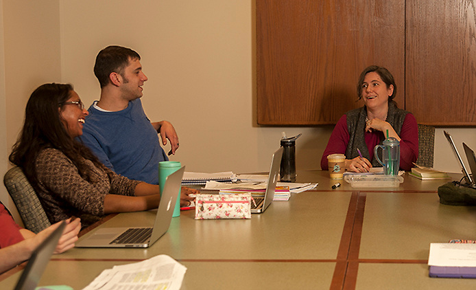 Doctor Myra Waterbury leads a seminar in comparative politics in Bentley Hall Annex on Wednesday, February 4.