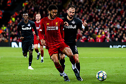 Joe Gomez of Liverpool takes on Andreas Ulmer of FC Salzburg - Mandatory by-line: Robbie Stephenson/JMP - 02/10/2019 - FOOTBALL - Anfield - Liverpool, England - Liverpool v Red Bull Salzburg - UEFA Champions League Group Stage