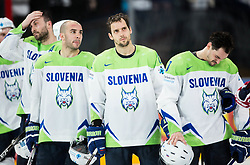 Sabahudin Kovacevic of Slovenia, Bostjan Golicic of Slovenia, David Rodman of Slovenia and Klemen Pretnar of Slovenia look dejected after the 2017 IIHF Men's World Championship group B Ice hockey match between National Teams of Finland and Slovenia, on May 10, 2017 in AccorHotels Arena in Paris, France. Photo by Vid Ponikvar / Sportida