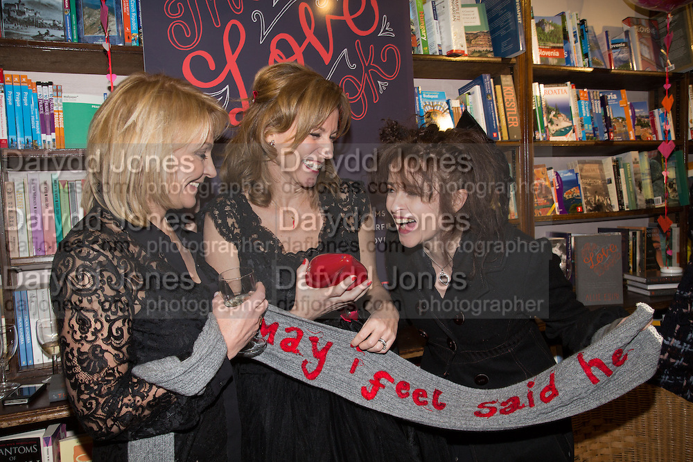 HELEN FIELDING; ALLIE ESIRI; HELENA BONHAM-CARTER, Allie Esiri's The Love Book launch party , Daunt Books <br /> 83 Marylebone High Street, London. 5 February 2014