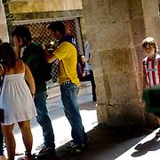 A boy wears an Athletic Bilbao football team's shirt in a street of the Northern Spanish Basque city of Bilbao, on August 25, 2011. Photo Rafa Rivas