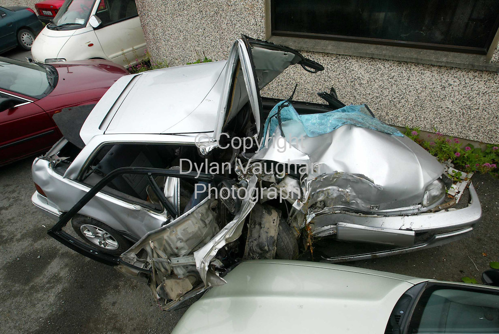 28/7/2004.The car that was involved in a fatal car crash in Clonegal in the early hours of Wednesday morning..Picture Dylan Vaughan