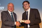 David Attenborough presents the International Gold  award to Ned Tozun, president of  D.light Design, India