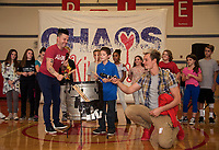 Donovan shows off his drumming skills in the talent show joined with Justin Spencer and Ryan Vezina during the Recycled Percussion takeover at Laconia Middle School Thursday.   (Karen Bobotas/for the Laconia Daily Sun)