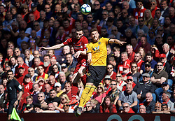 LIVERPOOL, ENGLAND - Sunday, May 12, 2019: Liverpool's Andy Robertson (L) and Wolverhampton Wanderers' Matt Doherty (R) during the final FA Premier League match of the season between Liverpool FC and Wolverhampton Wanderers FC at Anfield. (Pic by David Rawcliffe/Propaganda)