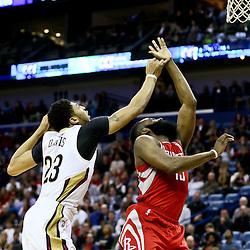Jan 25, 2016; New Orleans, LA, USA; Houston Rockets guard James Harden (13) shoots over New Orleans Pelicans forward Anthony Davis (23) during the second quarter of a game at the Smoothie King Center. Mandatory Credit: Derick E. Hingle-USA TODAY Sports