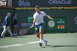 March 15, 2019 - Indian Wells, CA, U.S. - INDIAN WELLS, CA - MARCH 15: Roger Federer (SUI) hits a forehand during the BNP Paribas Open on March 15, 2019 at Indian Wells Tennis Garden in Indian Wells, CA. (Photo by George Walker/Icon Sportswire) (Credit Image: © George Walker/Icon SMI via ZUMA Press)