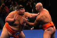 "Mitshuhiko Fukao of Japan (L) pushes Marek Kraszewski of Poland out of the ring, or ""dohyo"", during their bout in the ""World S.U.M.O. Challenge-Battle of the Giants"" at Madison Square Garden in New York, 22 October 2005 PHOTO BY KEITH BEDFORD"