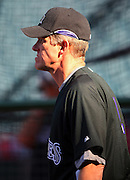 ANAHEIM, CA - JUNE 24:  Manager Jim Tracy #4 of the Colorado Rockies watches batting practice before the game against the Los Angeles Angels of Anaheim at Angel Stadium on Wednesday, June 24, 2009 in Anaheim, California.  The Angels defeated the Rockies 11-3.  ©Paul Anthony Spinelli*** Local Caption *** Jim Tracy