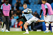 Manchester City midfielder Phil Foden (47) warming up during the Champions League match between Manchester City and Dinamo Zagreb at the Etihad Stadium, Manchester, England on 1 October 2019.