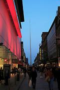 Nighttime view of Spire of Dublin, also called the Monument of Light, Henry Street, Dublin, Ireland,