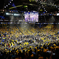 12 June 2017: General view of the Oracle Arena at the end of the Golden State Warriors 129-120 victory over the Cleveland Cavaliers, in game 5 of the 2017 NBA Finals, at the Oracle Arena, Oakland, California, USA.
