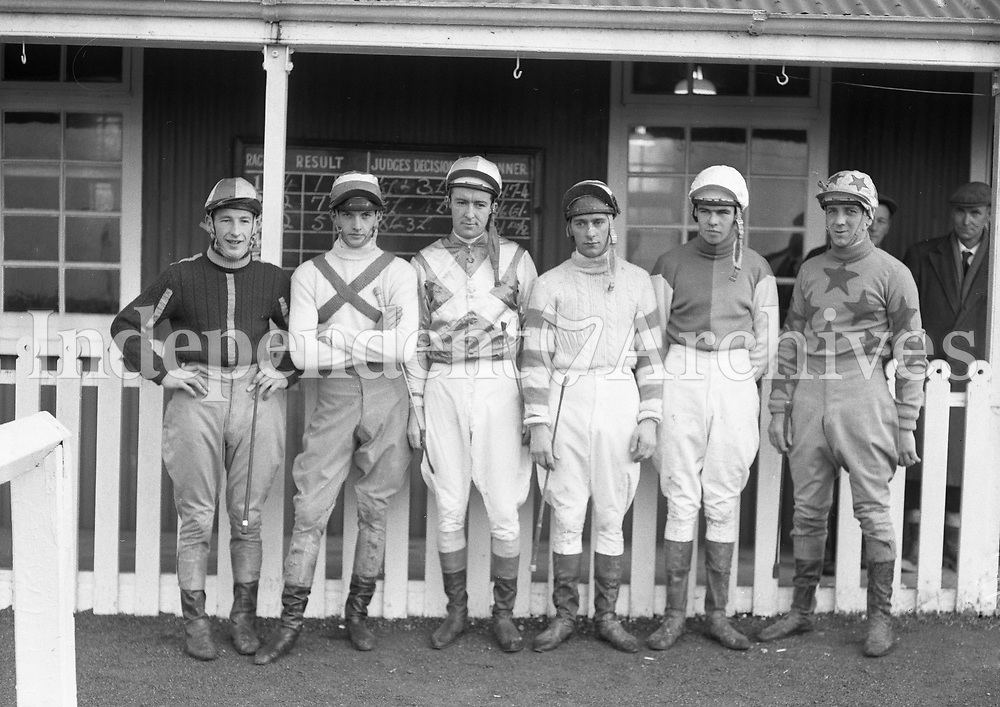 Jockeys at Navan Races. <br /> From left: Jockeys T. Carberry, D. Hughes, R. Coonan, B. Hannon, T.E. Hyde and Toss Taffe, pictured in the 1960's, location unknown.<br /> (Part of the Independent Newspapers Ireland/NLI collection.)
